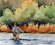 "Fly Fishing ""HOOKED UP"" Watercolor 8 x 10 ART Print Signed by Artist DJR"