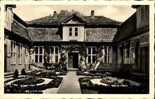 Wolfenbüttel alte Postkarte ~1940/50 Partie am Lessinghaus Garten Eingang Tür