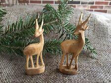 Pair of Vintage Folk Art Hand Carved Wooden Wood Deer,Christmas Nativity Animal