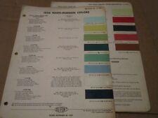 Original 1956 Nash Hudson Colors DuPont Paint Chip Charts