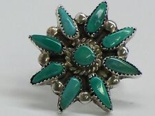 Vintage Zuni Sterling Silver Petit Point Turquoise Ring Size 5.5