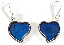"""""""Corazon"""" Heart Butterfly Wing Earrings-Sterling-Silver-Deep Blue-Drop/Dangle"""