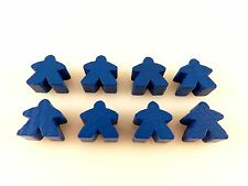 Carcassonne Replacement / Expansion Parts Wooden Follower Meeples 8x - Blue