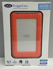 New Lacie Rugged Mini External Hard Drive 500GB USB 3.0 # 301556 Shock Resistant
