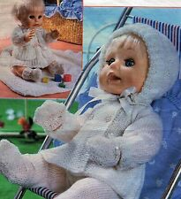 KNITTING PATTERN BABY DOLLS CLOTHES 3 ply PRAM SET SHAWL LAYETTE 9 ITEMS TO KNIT
