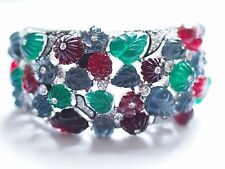 Kenneth Jay Lane Rhodium Rhinestones Multi  Coloured Tutti Frutti Deco Cuff