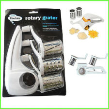 New Rotary Multi Grater Chef Aid White Kitchen Slicer Hand Tool Plastic Cheese