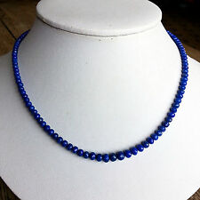 Lapis Lazuli Beaded Strand Necklace Blue 3mm-6mm 14kt Gold Clasp 54ct Stunning