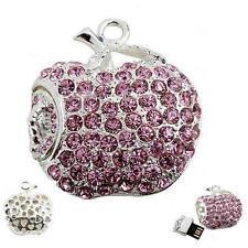 USB Stick 8 GB Apple Worm rosa pink silver coloured Rhinestone Jewellery Apple