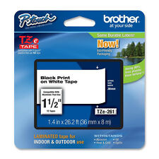 "Brother TZ261 TZe261 1-1/2"" 36mm black on white P-touch label tape TZ PT9800PCN"