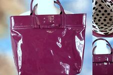 KATE SPADE Amelia patent Bon Vivant plum bow tote bag handbag purse polka dot