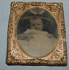 Antique Tintype Photo Infant Baby on Mother's Lap Gold Tin Ornate Frame