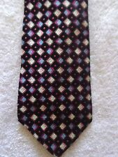 """MURANO MENS TIE BLACK WITH PINK BLUE AND WHITE DIAMONDS 61.5"""" X 4"""" EXTRA LONG"""