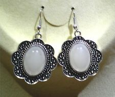 Simulated Sterling Silver White Oval Stone Dangle Earrings