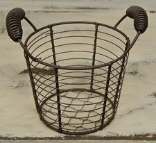Primitive Country RUSTY WIRE EGG GATHERING BASKET Pail Farmhouse Chicken Metal