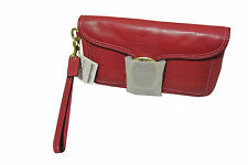 COACH 41551 Magenta Leather Wristlet Tattersall Plaid Lining Gold Buckle NWT