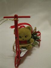 1987 Enesco Imports Corp. Bear On A Red Metal Trike Scooter Christmas Ornament