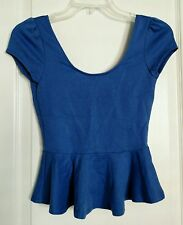 LuLus Peplum Top size Medium Open Back Shirt Blouse