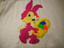 Purple Rabbit w/ Easter Basket Melted Plastic Popcorn Decoration Wall Window