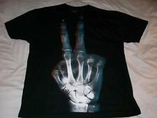 X-ray Skeletal Hand Peace Sign 2 Black No Boundaries T-Shirt Mens XLarge XL used