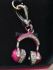 BRAND NEW JUICY COUTURE PINK HEADPHONES BRACELET CHARM IN TAGGED BOX