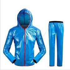 Shiny wet look glanz pvc  nylon track suit sport mens M   jacket pants blue
