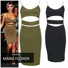 NEW LADIES WOMEN STRAPPY CELEBRITY INSPIRED CUT OUT CAMI BODYCON DRESS
