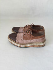 PRADA MADRAS ICONIC TRI COLOR Nude Brown Woven Platform Espadrille Oxfords.10 40