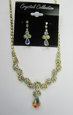 Gold Iridescent AB Stone Floral Rhinestone Crystal Necklace Set Prom Bridal