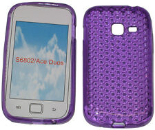 For Samsung Galaxy Ace Duos GT S6802 Pattern Gel Case Protector Cover Purple New