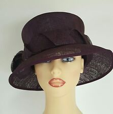 Ladies Wedding Hat Races Mother Bride Ascot Aubergine Purple By Anne Hanna