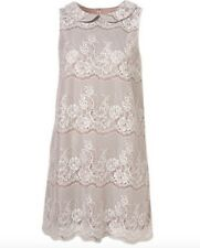 TOPSHOP  White beige Floral Lace Peter Pan Collar Sleveless Shift Dress size 10