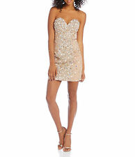 NWT Glamour by Terani Couture Prom Homecoming Formal Short Dress Nude SZ 0