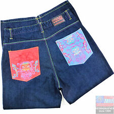 COOGI Mens Jeans 38x32 Embroidered Dark Wash Blue Baggy Hip Hop