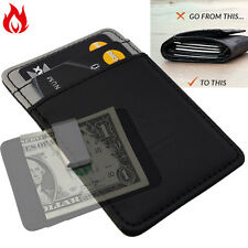 Mens Minimal Silver Money Clip Wallet -Black Grey- Faux Leather Cash Card Holder