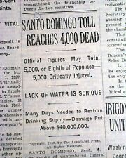 DOMINICAN REPUBLIC HURRICANE Santo Domingo Zenon Storm Disaster 1930 Newspaper