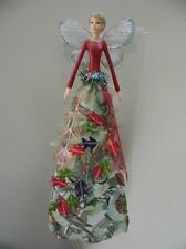 Gisela Graham Christmas Tree Top Fairy - Forest Whispers - 29cm Green & Red