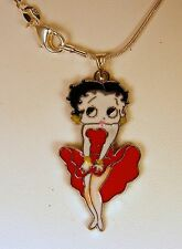 "BETTY BOOP PENDANT,18"" SILVER PLATED NECKLACE"