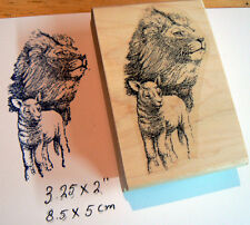 """Lion and lamb rubber stamp 3.5x2"""" WM"""