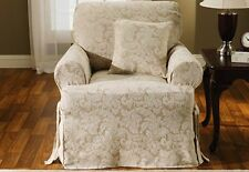 Sure Fit Scroll Chair Slipcover Champagne One Piece, 1 Piece T - Style Cushion
