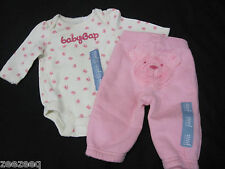 BABY GAP Girls Infant Pink Bear Bottom Sweatpants & One Piece Top Outfit 0-3m