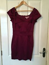LADIES 'TEDBAKER' BURGANDY SATIN DRESS. SIZE 10/TEDBAKER/2. GOOD CONDITION.
