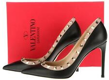 NEW VALENTINO GARAVANI BLACK NUDE LEATHER ROCKSTUD CLASSIC PUMPS SHOES 40.5