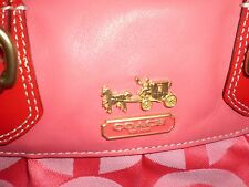 AUTHENTIC COACH CORAL & RED JACQUARD & LEATHER SATCHEL/SHOULDER BAG IMMACULATE