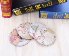 10x10cm 4pcs/lot Cup Drink Placemat Mat Retro World Map Table PU Coaster Holder