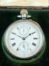Antique Chronograph Dent Pocket Solid Silver Watch  Extremely rare .Museum Item