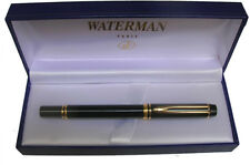 WATERMAN LE MAN 100 BLACK FOUNTAIN PEN MED PT  WITH THE IDEAL NIB   IN BOX  **