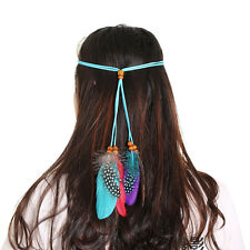 Women Boho Hippie Feather Headband Weave Hairband Hair Accessory