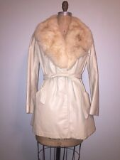 Vintage 60's 70's Belted LeatherJacket Coat Cream Ivory Beige Fur Collar S