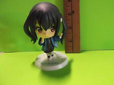 """#A40 Unknown Anime 3.5""""in Black Twin Tail Big Head Figure in Cool Blue Jacket"""